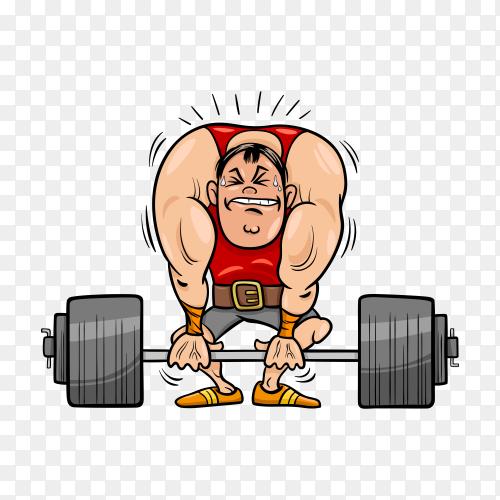Weightlifting sportsman cartoon illustration on transparent background PNG