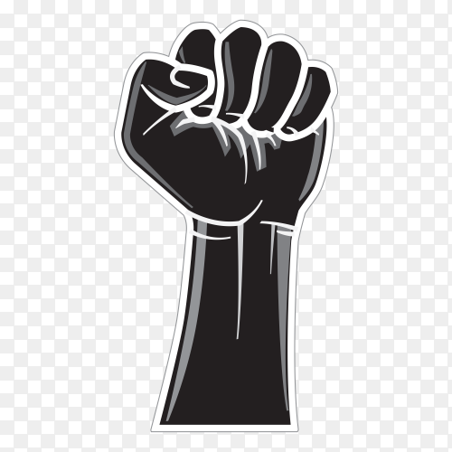 Winner raised clenched fist. Logo label design on transparent background PNG