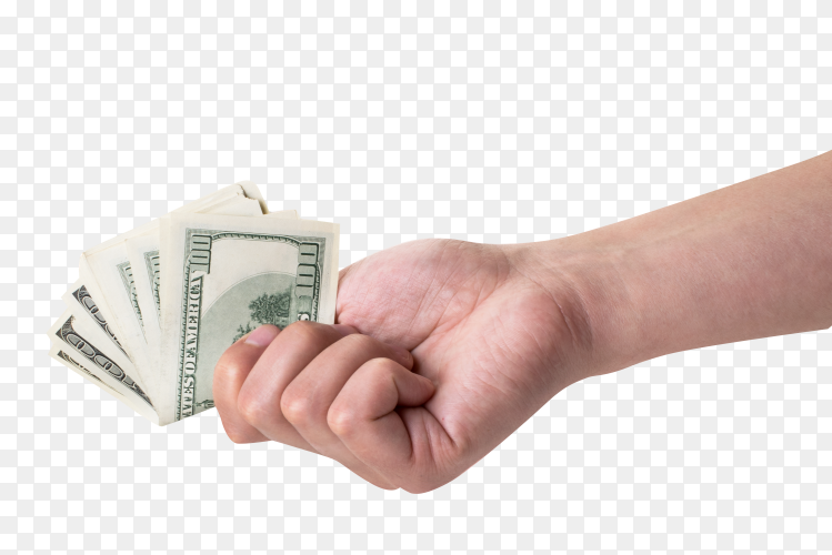 Woman's hand holding one hundred euro banknotes on transparent background PNG