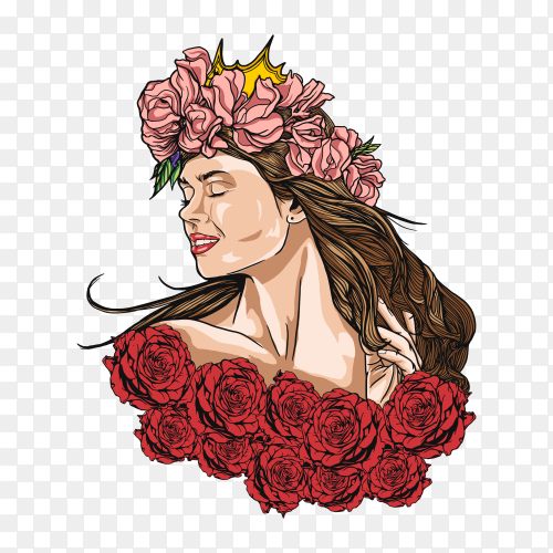 Woman with rose flower on transparent background PNG