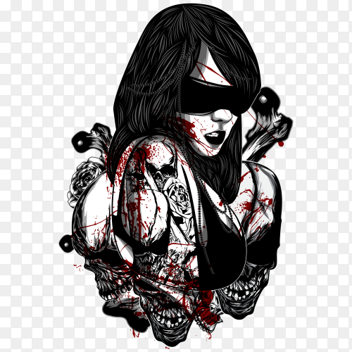 Woman with tattoo on transparent background PNG
