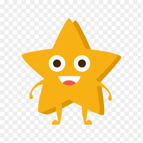 Yellow Star , Cartoon Character Emoji With Eyes illustration on transparent background PNG