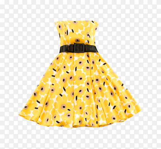Yellow dress isolated on transparent background PNG
