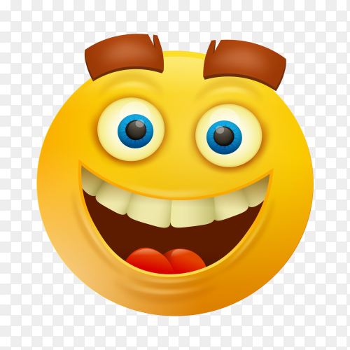 Yellow smile face character emoji on transparent background PNG