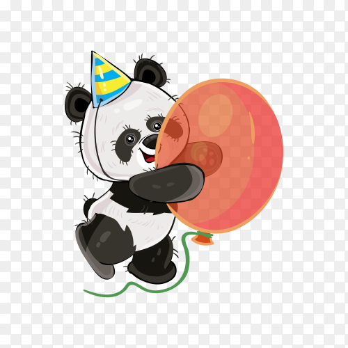 cute bear panda holding balloon on transparent background PNG