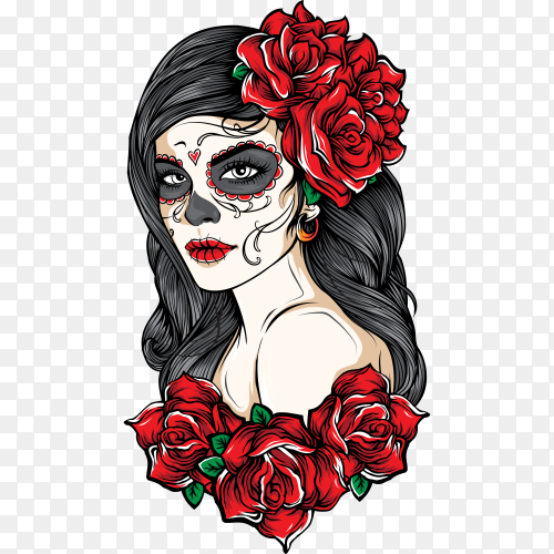 sugar skull women with roses on transparent background PNG