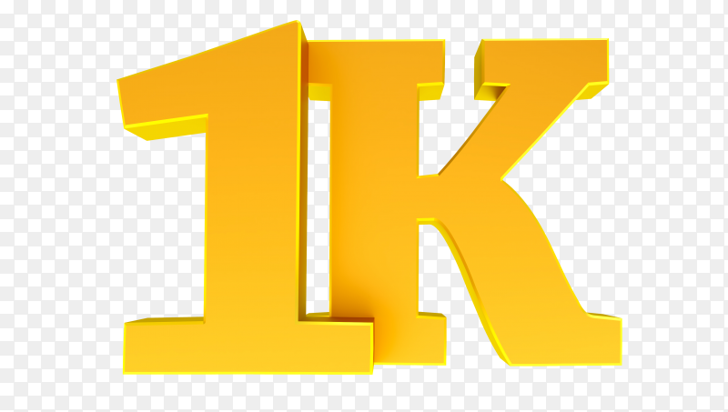 1k or 1000 followers thank you on transparent background PNG