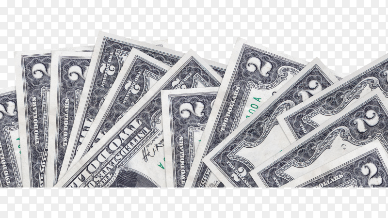 2 us dollars bills lies on bottom side of screen isolated on transparent background PNG