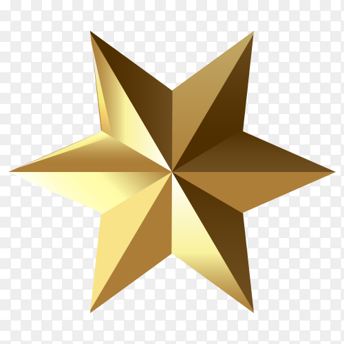 3D golden star isolated on transparent background PNG