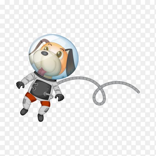 A dog astronaut in space illustration on transparent background PNG