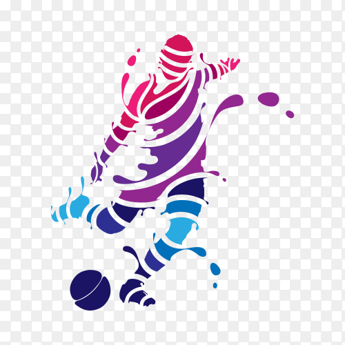 Abstract professional soccer player quick shooting a ball from splash on transparent background PNG