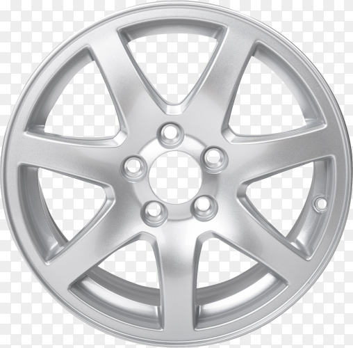 Alloy car wheel rim isolated on transparent background PNG
