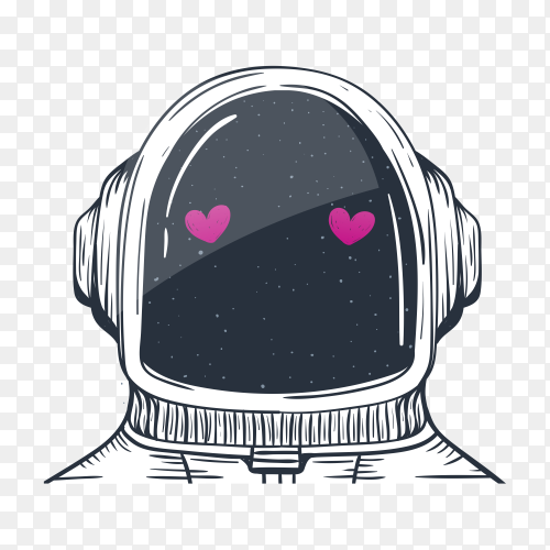 An astronaut helmet with two heart on transparent background PNG