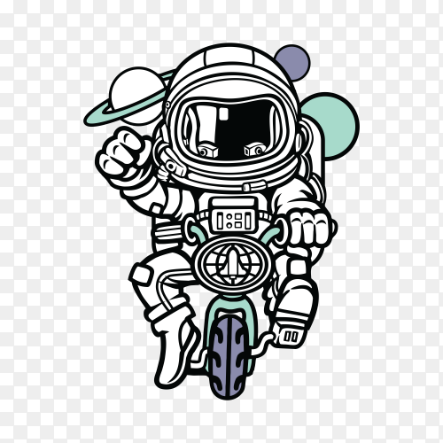 Astronaut ride Bike Graphic t-shirt design on transparent background PNG