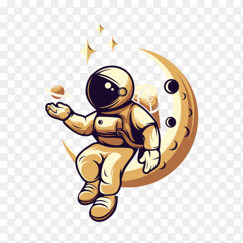 Astronaut sitting on the crescent moon on transparent background PNG