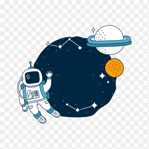 Astronaut stands on the moon  on transparent background PNG