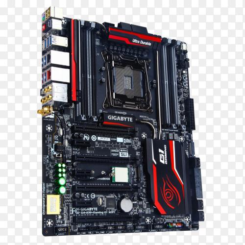 Asus motherboard in black color on transparent background PNG