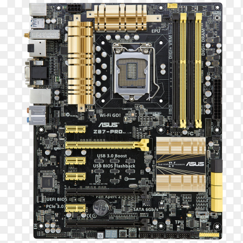 Asus motherboard on transparent PNG