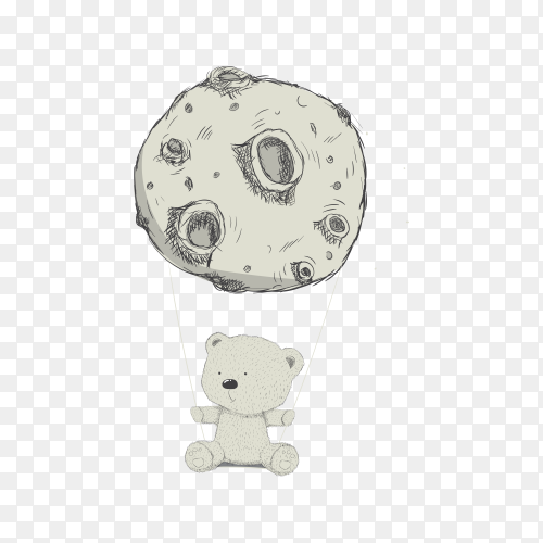 Baby Bear With Moon Hand Drawn Kids Design on transparent background PNG