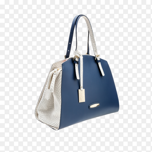 Female bag in blue and white color on transparent  background PNG