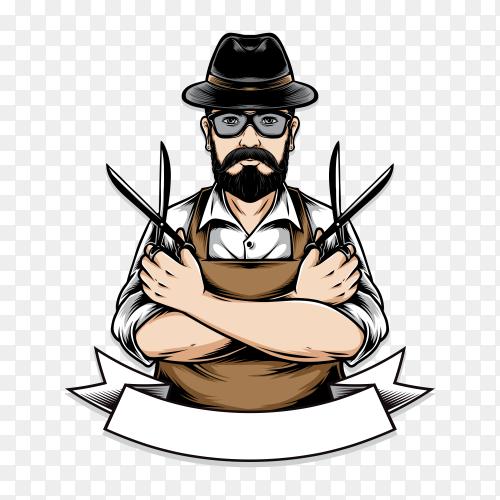 Barberman holding scissor illustration on transparent background  PNG