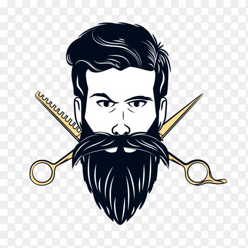 Barber shop logo on transparent background PNG