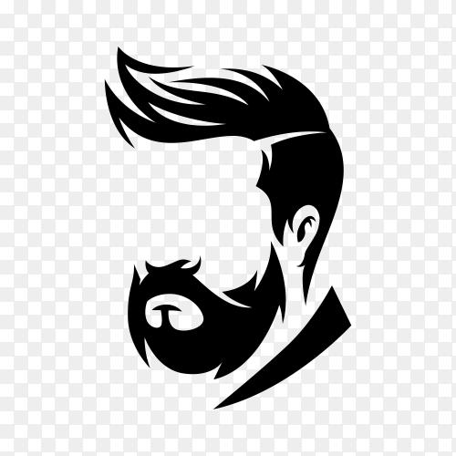 Barbershop logo design template on transparent background PNG