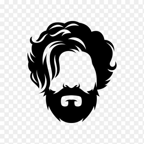 Barbershop logo template on transparent background PNG