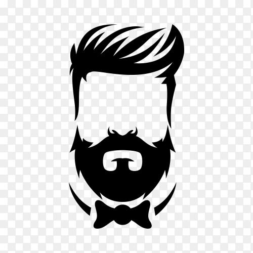 Beard barber logo design on transparent background PNG