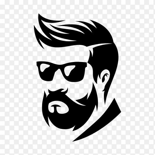 Beard barber logo in flat design on transparent background PNG