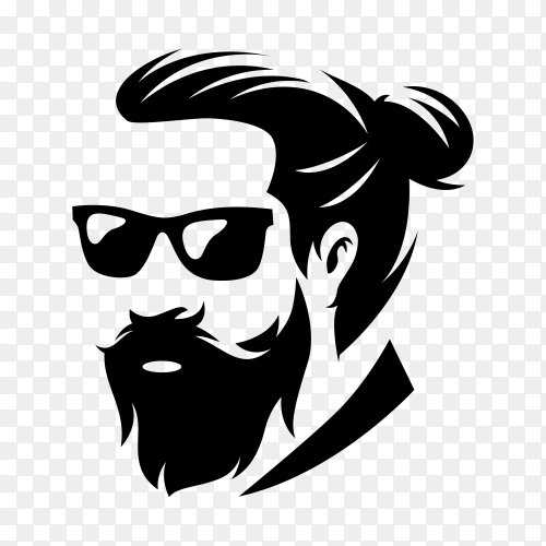 Beard barber logo isolated on transparent background PNG