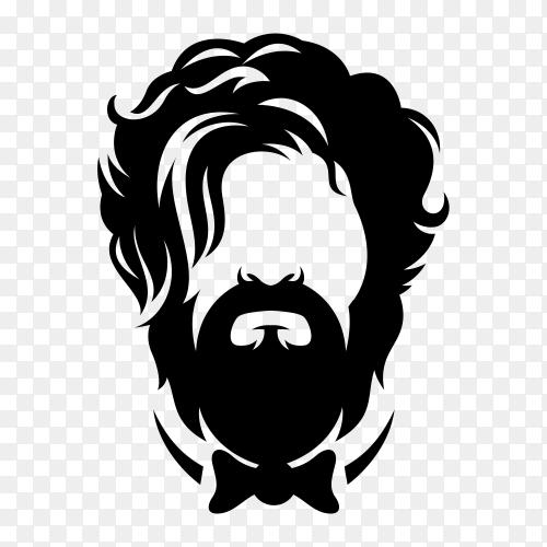 Beard barber logo on transparent background PNG