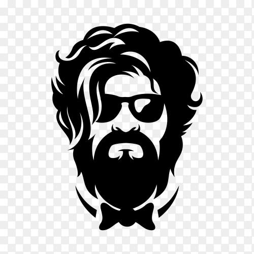 Beard barber logo premium vector PNG