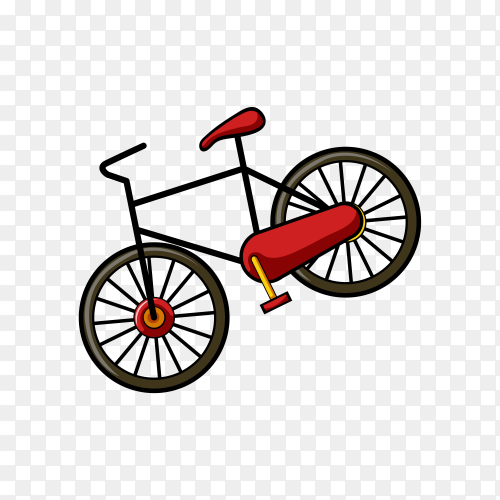 Black and red Bicycle isolated on transparent background PNG
