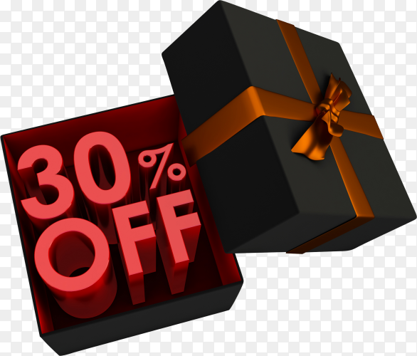 3d Red text 30 percent off inside a gift box on transparent background PNG