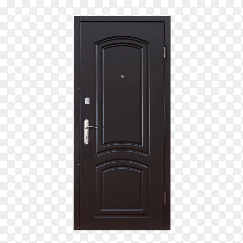 Black door isolated on transparent background  PNG