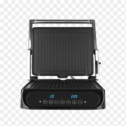 Black electric grill isolated on transparent background PNG