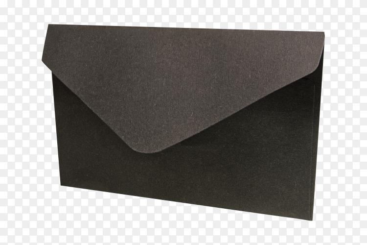 Black envelope on transparent  background PNG