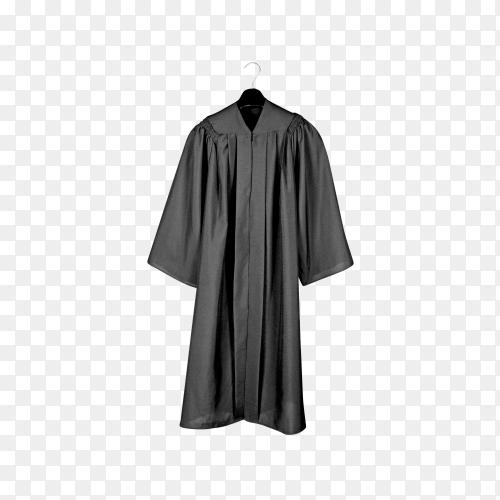Black graduation gown on transparent background PNG