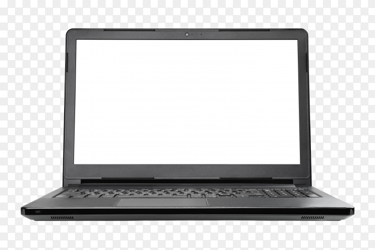 Black laptop device on transparent background PNG