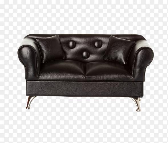Black leather sofa on transparent background PNG