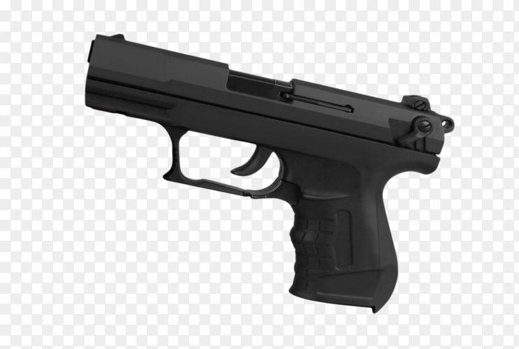Black pistol on transparent background PNG