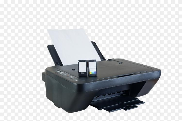 Black printer and ink cartridges on transparent background PNG