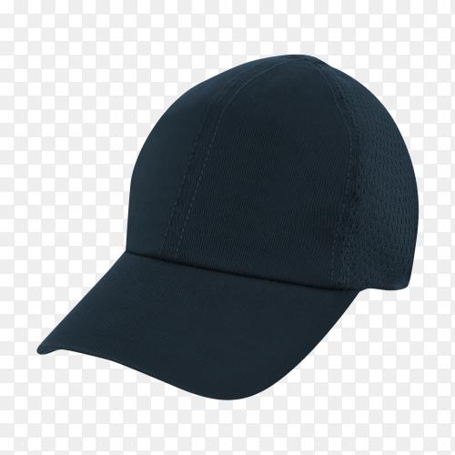 Black cap on transparent background PNG
