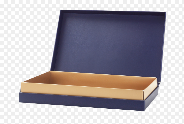 Blue blank cardboard box on transparent background