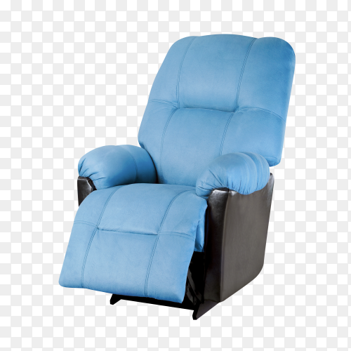 Blue modern Armchair isolated on transparent background PNG