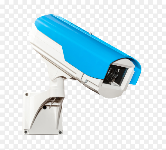 Blue security camera isolated on transparent background PNG
