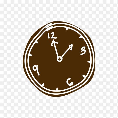 Brown clock illustration on transparent background PNG