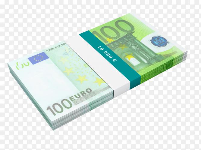 Bundle of 100 euro banknotes bills on transparent background PNG