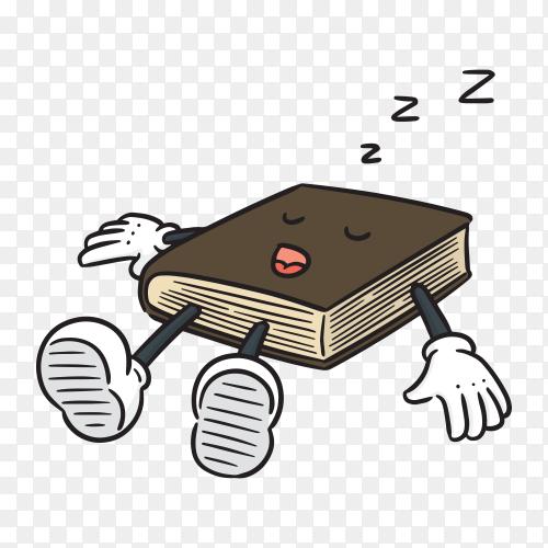 Cartoon book illustration on transparent background PNG